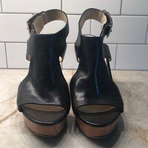 Michael Kors Black Leather Wedges
